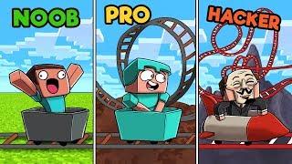 Minecraft - ROLLER COASTER CHALLENGE! (NOOB vs. PRO vs. HACKER)