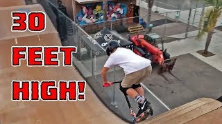 8 YEAR OLD RIDES DOWN MEGA RAMP ON SCOOTER