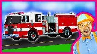 Blippi Fire Trucks for Children   Fire engines for kids and Fire Truck Tour