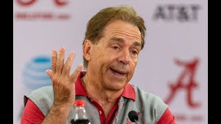 Nick Saban on moving indoors to scrimmage, Tua Tagovailoa setback