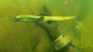 Found Knife Underwater in River While Scuba Diving for Interesting Finds! (Spotted Huge Fish)