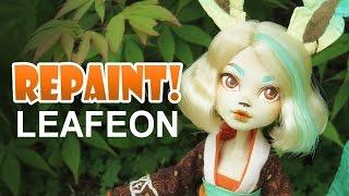 Repaint! Leafeon Pokemon Eeveelution custom OOAK Doll