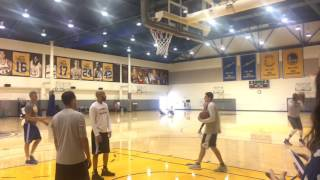 Stephen Curry and Kevin Durant shooting 3s together after Warriors (2-0) practice, day G3 vs Blazers