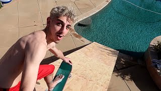 WE BUILT A GIANT RAMP FROM OUR ROOF INTO THE POOL!! *insane* | FaZe Rug