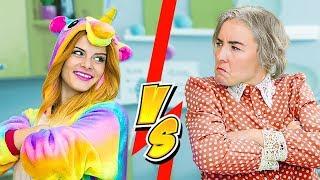 Squishy Food vs Slime Food Challenge / Unicorn vs Granny Challenge - 8 Ideas