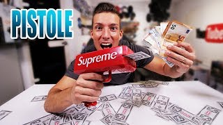 Lustige Spielzeugwaffe Geld Cash Canon | Supreme Money Gun Unboxing - Review - Test [Deutsch/German]