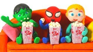 SUPERHERO BABIES ENJOY WATCHING A MOVIE  ❤ Spiderman, Hulk & Frozen Elsa PlayDoh Cartoons For Kids