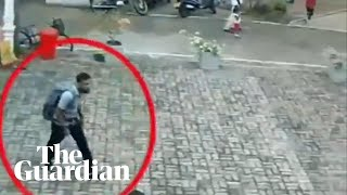 CCTV footage shows suspected Sri Lanka suicide bomber entering church