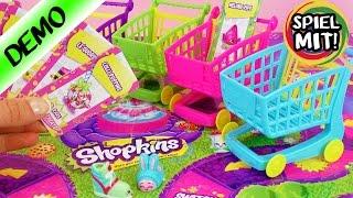 Shopkins Shopping Cart Sprint Game mit 4 Einkaufswagen deutsch   Wer kauft am schnellsten ein?