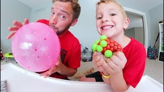 Father & Son TEST $5 DOLLAR TOYS! / Alien Brain Ball & More!