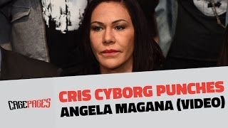Cris Cyborg punches Angela Magana at UFC Athlete Retreat
