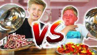 REAL FOOD vs. GUMMI FOOD CHALLENGE - Isst Max Regenwürmer? TipTapTube