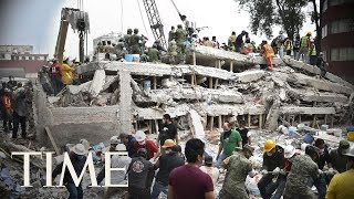 Mexico Earthquake Rescue Efforts: Rescuers Try To Save A Girl Trapped Under School