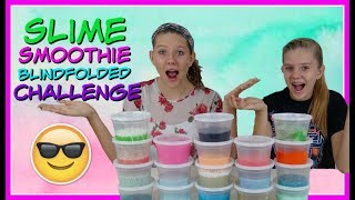 SLIME SMOOTHIE BLINDFOLDED CHALLENGE || GIANT SLIME || Taylor and Vanessa