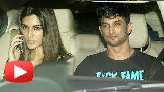 Sushant Singh Rajput With Rumored Girlfriend Kriti Sanon At Bareilly Ki Barfi Screening