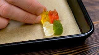 Put 4 Gummy Bears In The Corner Of The Sheet Pan. After 2 Minutes, Wow!