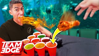 Spicy Cup Pong Challenge!   Carolina Reaper Hot Sauce!!