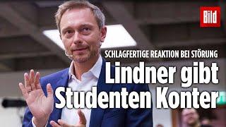 FDP-Chef an Uni niedergebrüllt - So cool kontert Lindner Schrei-Studenten aus