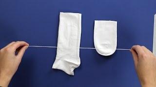 Eine Socke einfach in der Mitte durchschneiden und fertig! Das Ergebnis verschönert jede Wohnung.