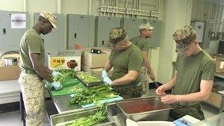 US Marine Chefs. Chow Hall Preparation.