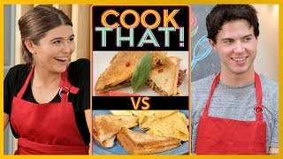 GRILLED CHEESE CHALLENGE w/ Olivia Jade and Alex Reninga | COOK THAT