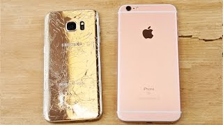 Samsung Galaxy S7 Edge vs iPhone 6S Plus Drop Test!