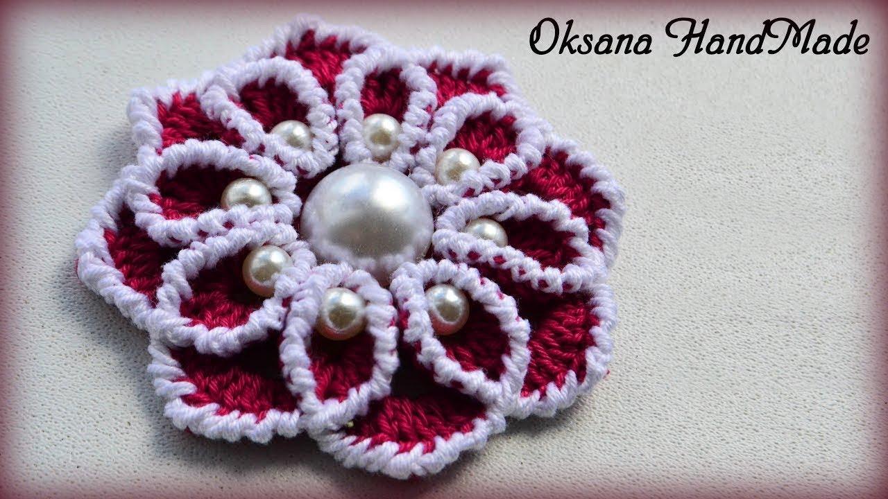 Вязание цветка с бусинками