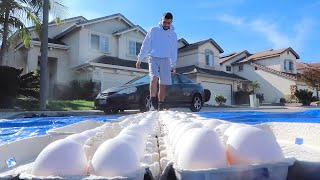 WALKING ON 500 RAW EGGS BAREFOOT!! WTF!