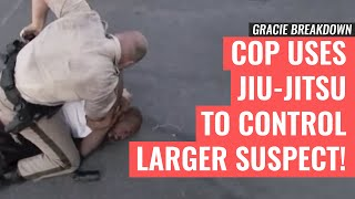 Las Vegas POLICE Officer Uses JIU-JITSU to Control Larger Suspect (Gracie Breakdown)
