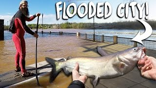 Fishing in a Flooded City! - Vlog (SUP River Fishing) | DALLMYD
