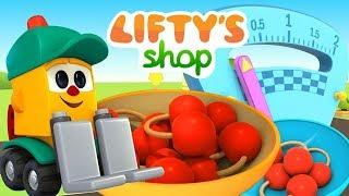 Liftys Laden: Skoop kauft Kirschen. Zeichentrickfilm auf Deutsch.