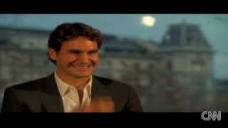 Rogere Federer laughing to death at tv interview