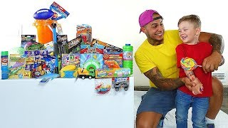 I BOUGHT HIM EVERY KIDS TOY AT 99 CENT STORE!!