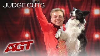 Lukas & Falco Perform Adorable Dog Act To The Greatest Showman - America's Got Talent 2019