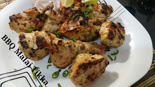 BBQ Malai Tikka / Malai tikka boti recipe/ Spicy BBQ Chicken Malai boti..