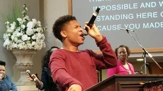 "Caleb Carroll 15 yrs old sings Cover of ""Made A Way"" by Travis Greene - Instagram @calebcarroll2020"