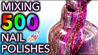 Mixing my 500 HOLO Nail Polishes Together! What Will Happen?!