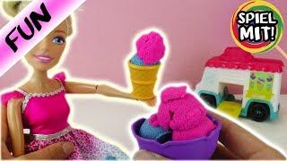 XXL Barbie Königin isst leckeres Kinetic Sand EIS | Eiswagen Ice Cream Truck | kneten mit Super Sand