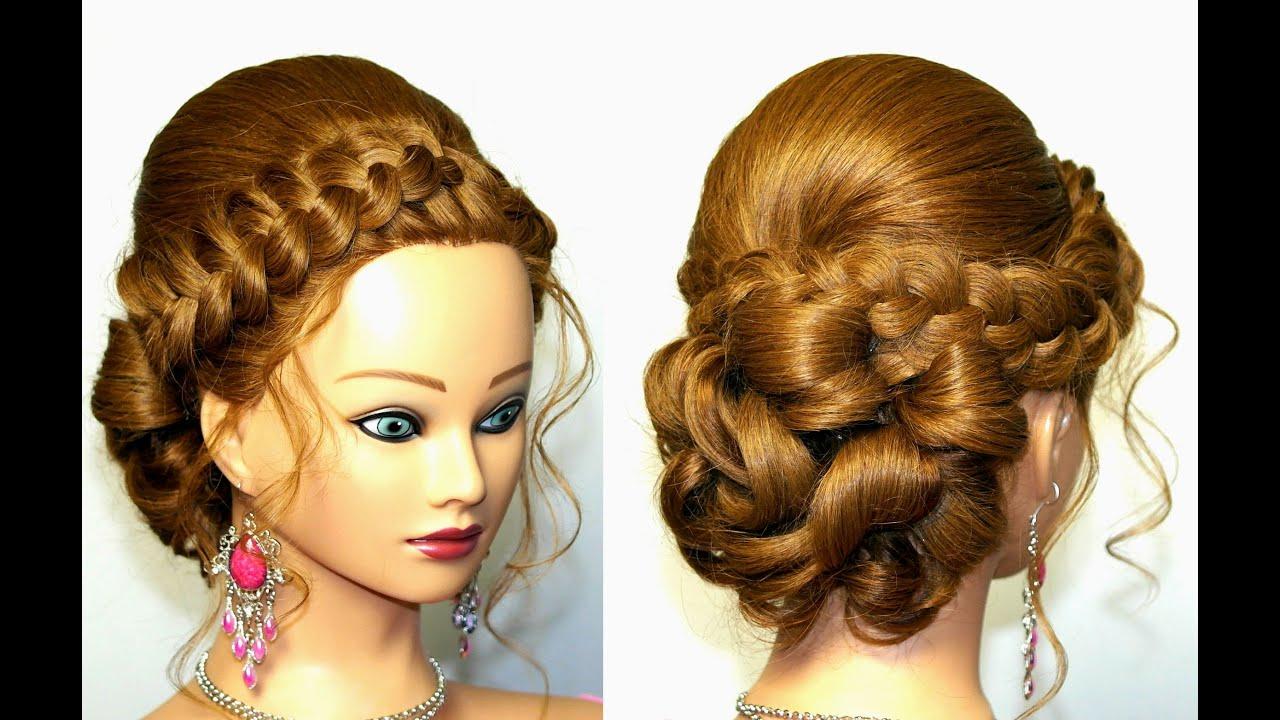 Прически с плетением на выпускной для средних волос