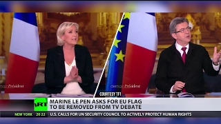 Le Pen asks for EU flag to be removed from TV debate