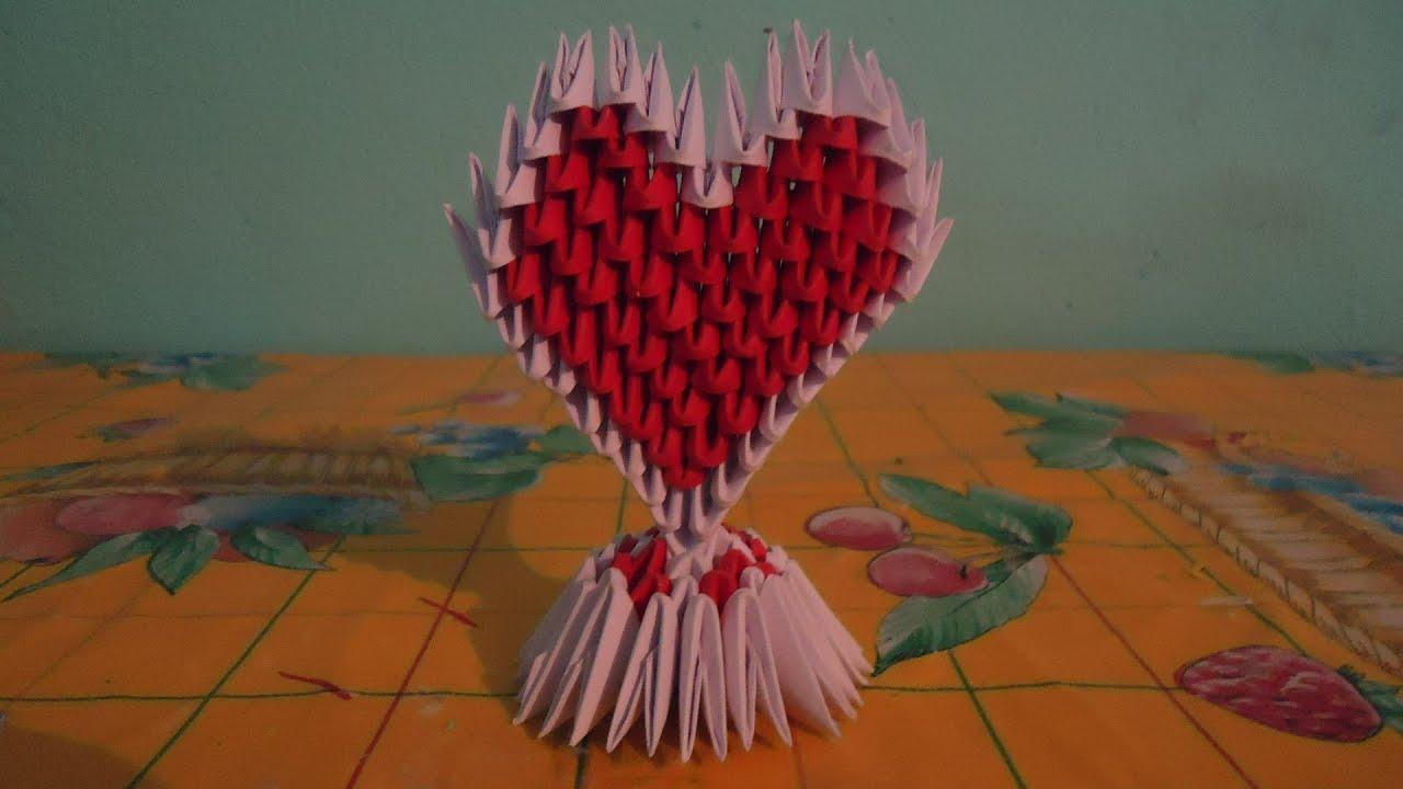 Схема сборки модульного оригами сердца с