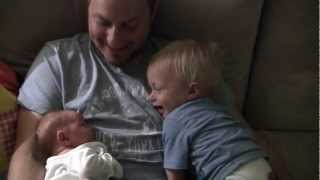 Baby Micah Laughing Hysterically at Newborn Sister