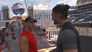 Seth Rollins and Roman Reigns prepare for their WrestleMania entrances on WWE 24 (WWE Network)