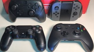 Switch Pro Controller vs DualShock 4 V2 vs Xbox One V3 vs Joy-Con Grip - ULTIMATE COMPARISON REVIEW