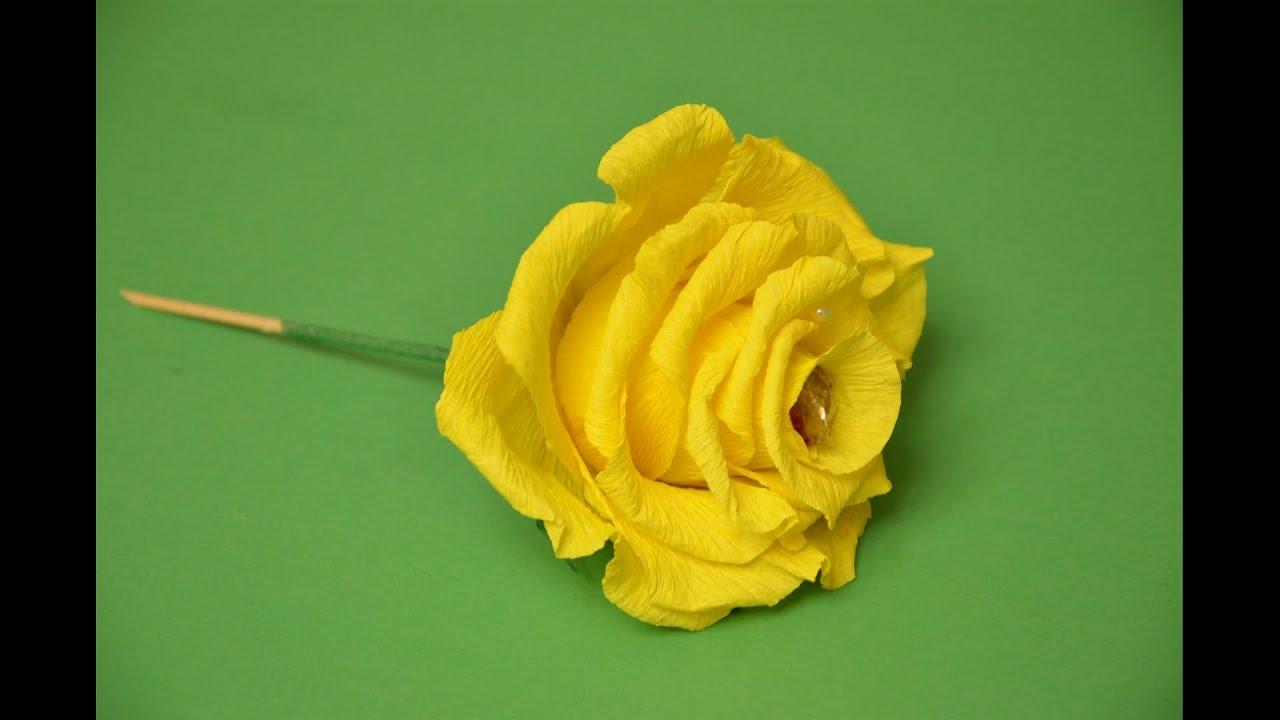 Роза из бумаги гофрированной мастер класс