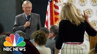 Senator Mitch McConnell Confronted By Woman, Protesters At Town Hall | NBC News