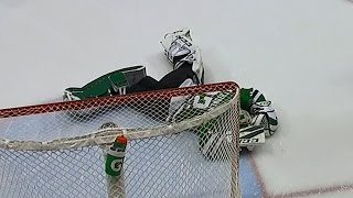 Lehtonen forced to leave after collision with Iginla