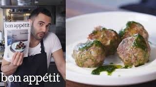 Andy Makes Spicy Lamb Meatballs with Raisin Pesto   From the Test Kitchen   Bon Appétit