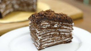 EGGLESS CHOCOLATE CREPE CAKE I Without Oven