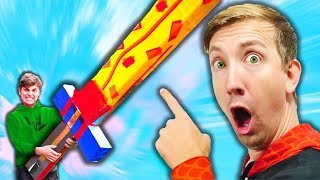 DO NOT Destroy My GIANT Cardboard SWORD vs SHARER FAM in REAL LIFE Challenge!